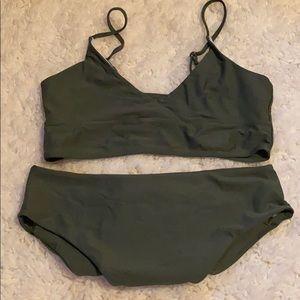 Shein Green Wrap Top Highwaist Bikini